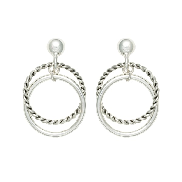 Museum Collection Silver Rope Twist Circle Post Drop Earrings