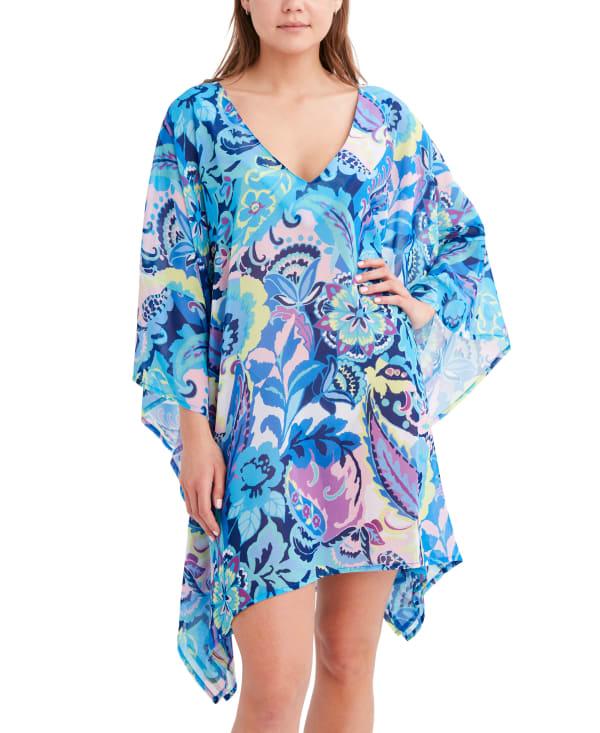 Tahari Paris Floral Wrap Cover - Blue - Front
