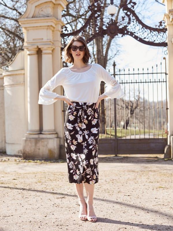 Side Tie Midi Skirt - Black Sage Floral - Front