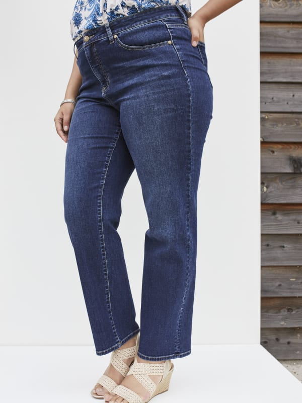 Westport Signature Plus 5 Pocket Straight Leg Jean - Plus - Dark Wash - Front