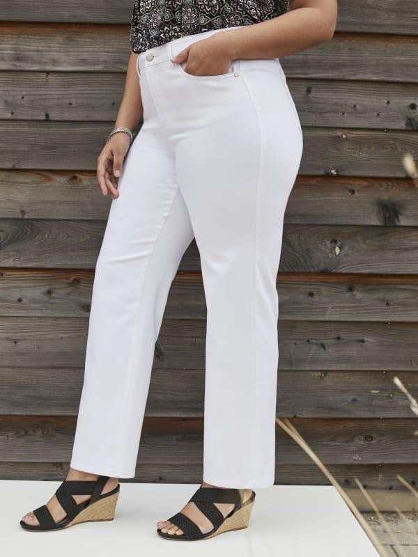 Westport Signature Plus 5 Pocket Straight Leg Jean - Plus - Optic White - Front