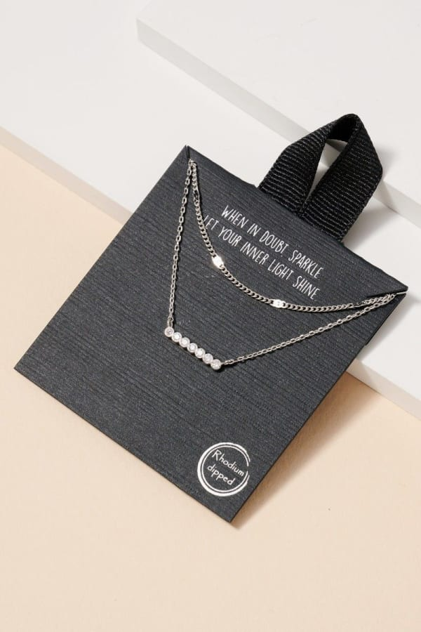 Pave Bar Layered Short Necklace - Rhodium - Front