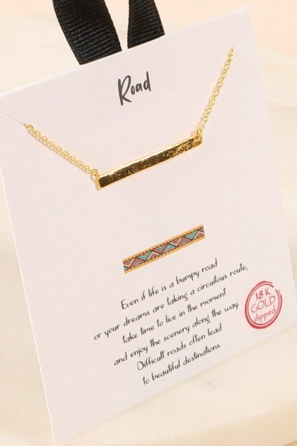 Sideways Bar Necklace - Gold - Front