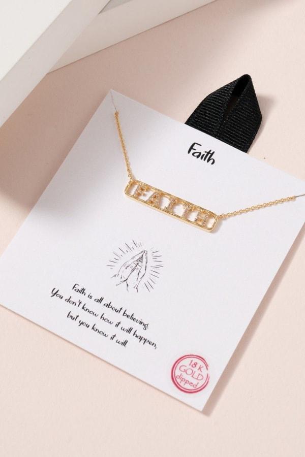 FAITH Bar Pendant CZ Necklace
