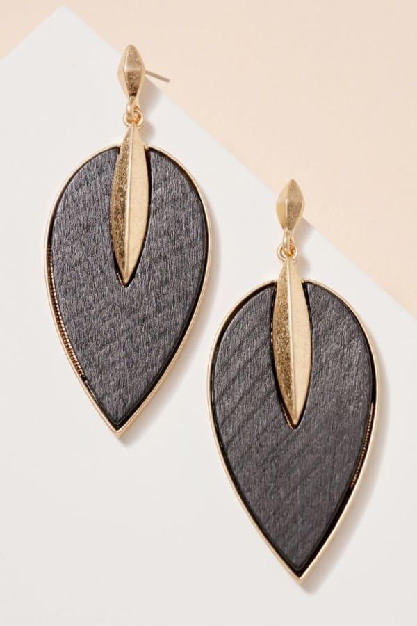 Wooden Leaf Shaped Dangling Earrings