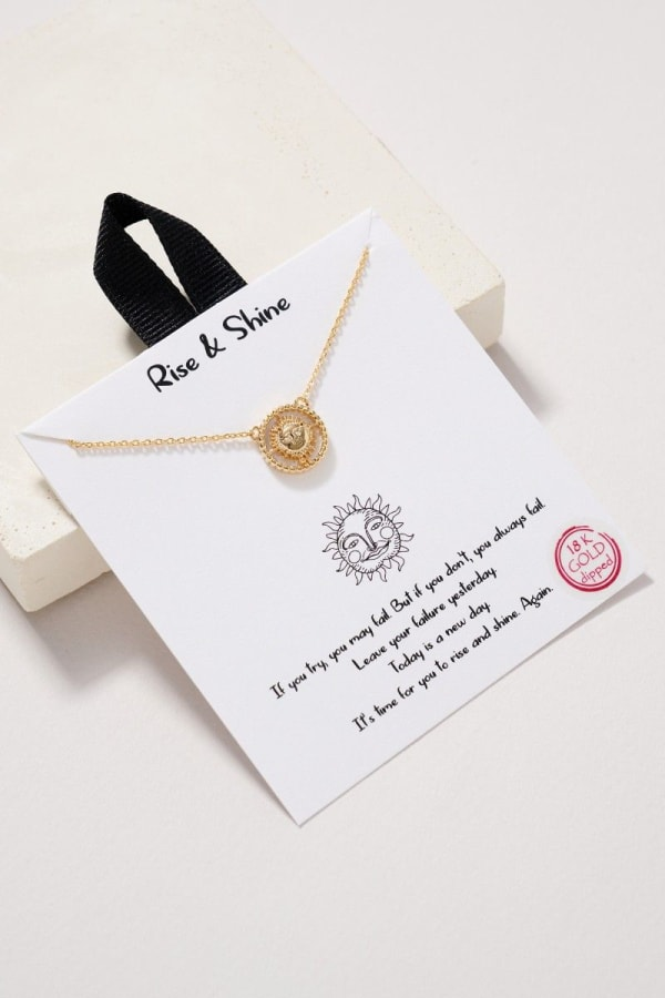 Sun Charm MOP Necklace - Gold - Front