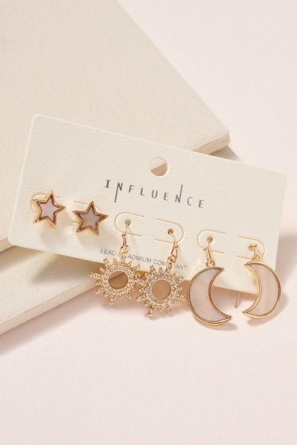Star Moon Sun Shell Earrings Set - Gold - Front