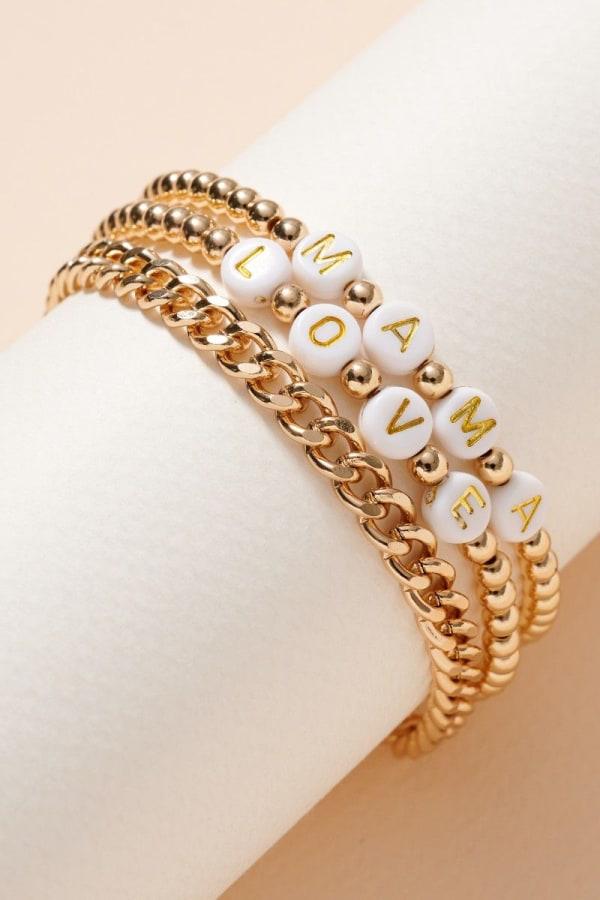 Inspirational Beaded Chain Linked Bracelet Set - Gold - Front