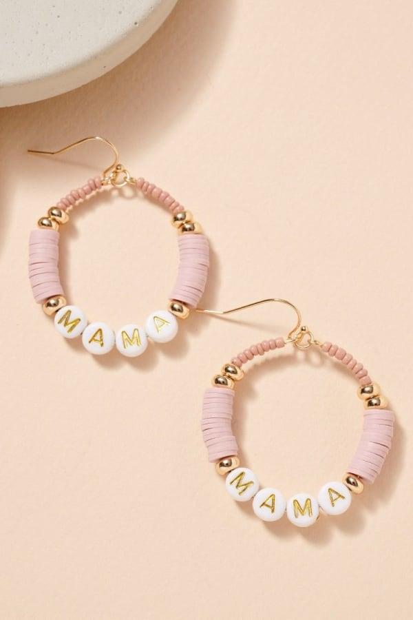 MAMA Rubber Beaded Hoop Earrings