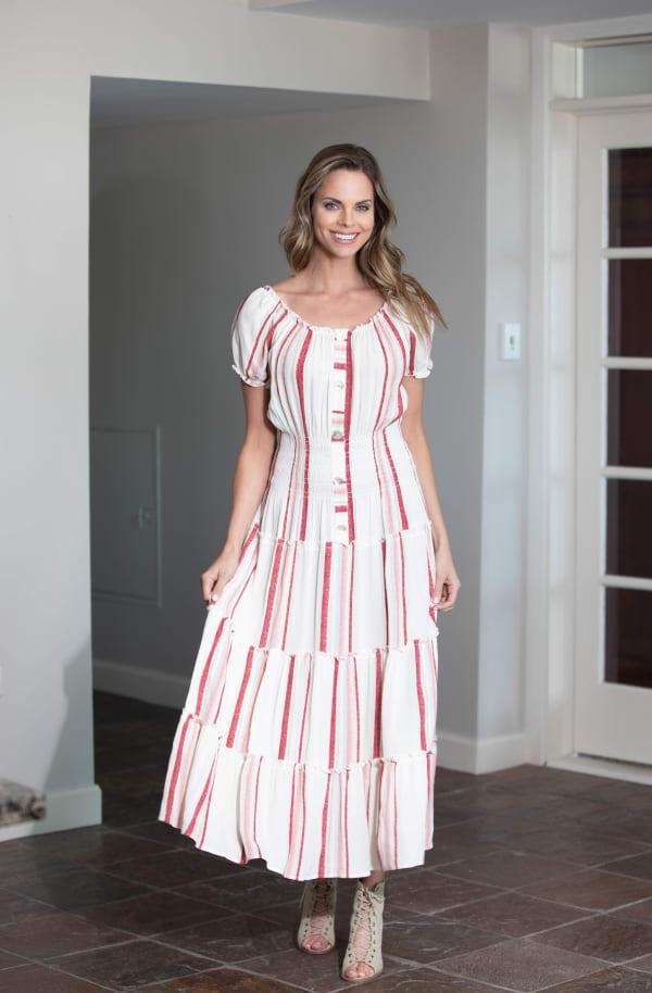 Vienna Stripe Maxi Peasant Dress