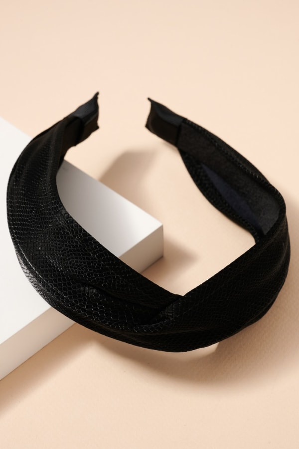 Crock Embossed Leather Twisted Head Band