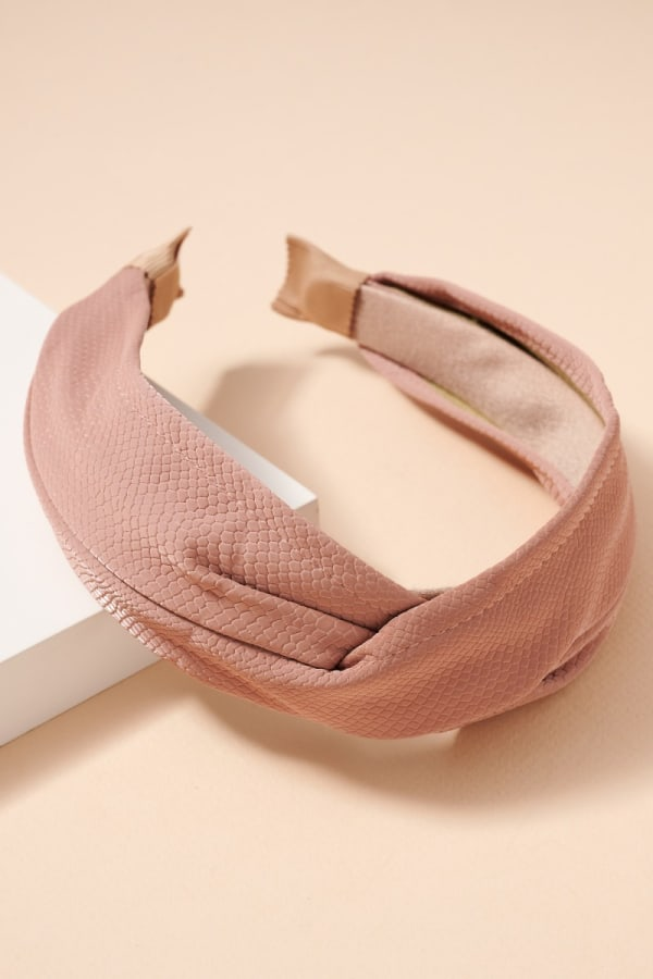 Crock Embossed Leather Twisted Head Band - Pink - Front