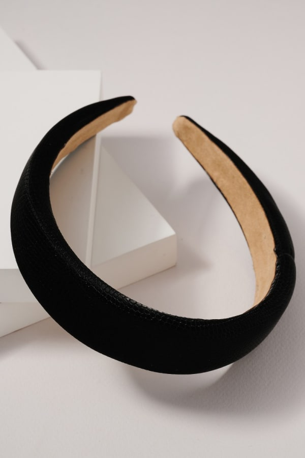 Crock Embossed Leather Head Band - Black - Front