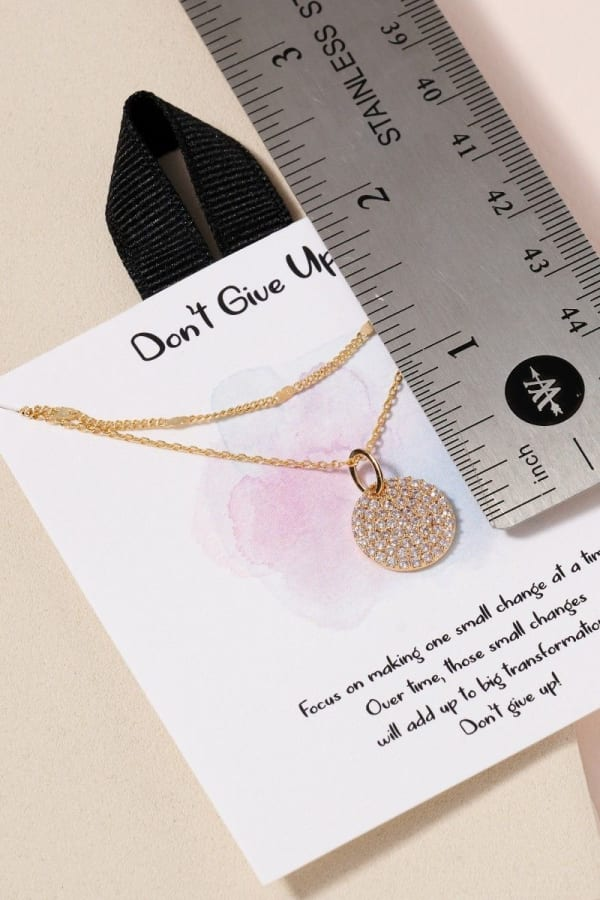 Disc Charm CZ Layered Necklace