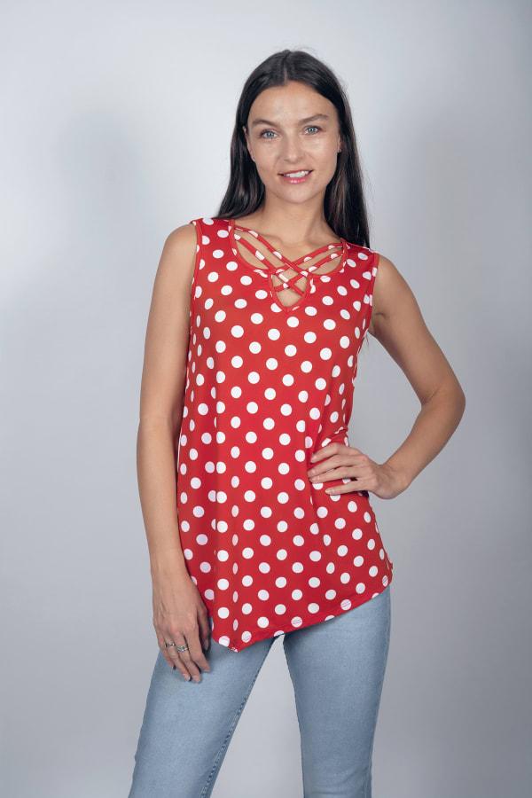 Dot Asymmetrical Knit Tunic