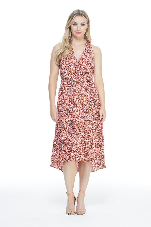 Clarissa Floral Ruffle Bottom Halter Midi Dress - Petite