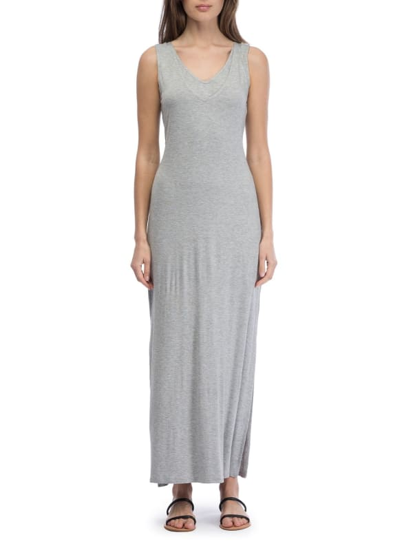 V-Neck Tie Maxi Dress - Heather Grey - Front