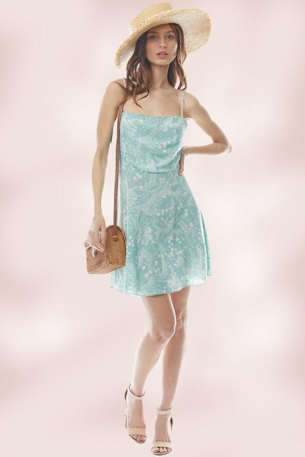 A Line Tie Back Floral Slip Dress