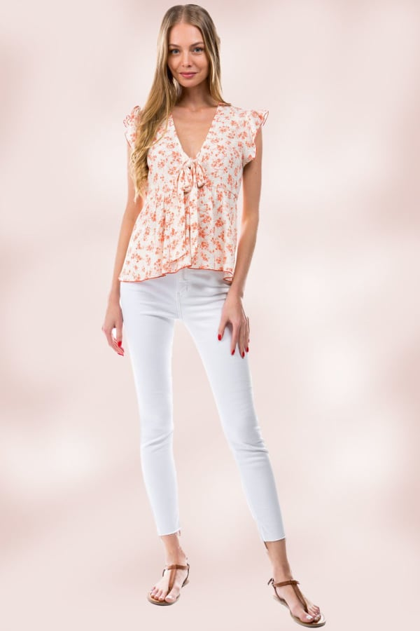Floral Ditsy Tie Front Flutter Sleeve Babydoll Top - Ivory - Front
