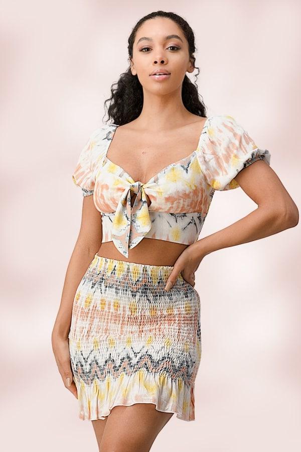 Crop Top Mini Skirt Matching Set - Multi - Front