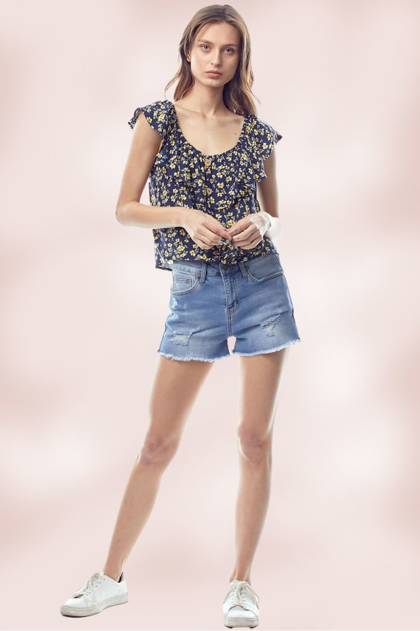 Flounce Ruffle Neck Ditsy Floral Tie Front Top