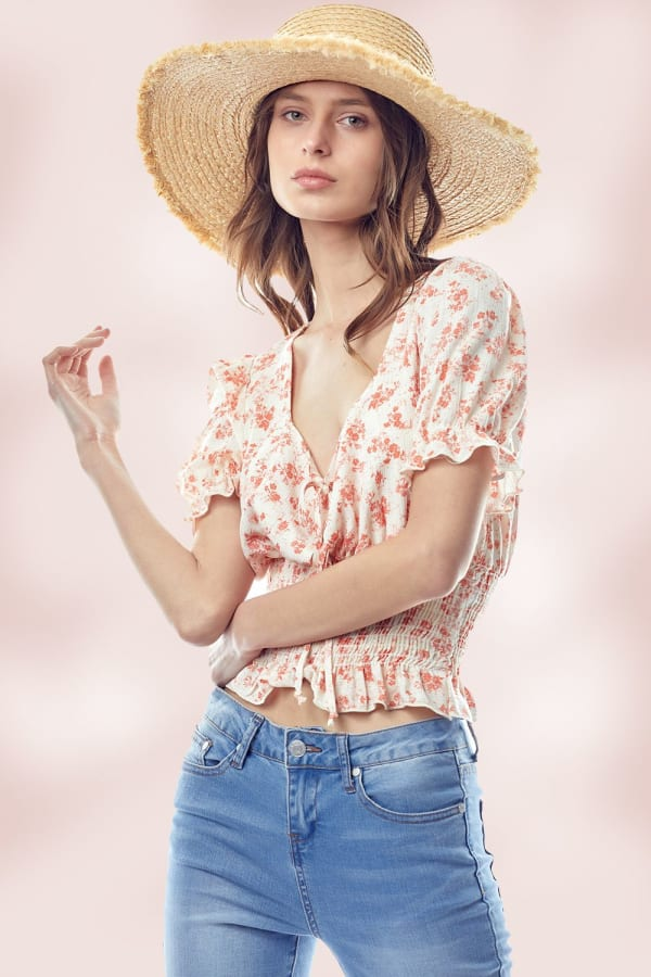 Floral Puff Sleeve Smock Hem Blouse Top - Coral - Front