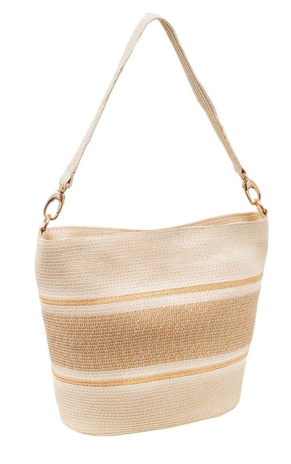 Color Block Striped Straw Handbag - Natural - Front