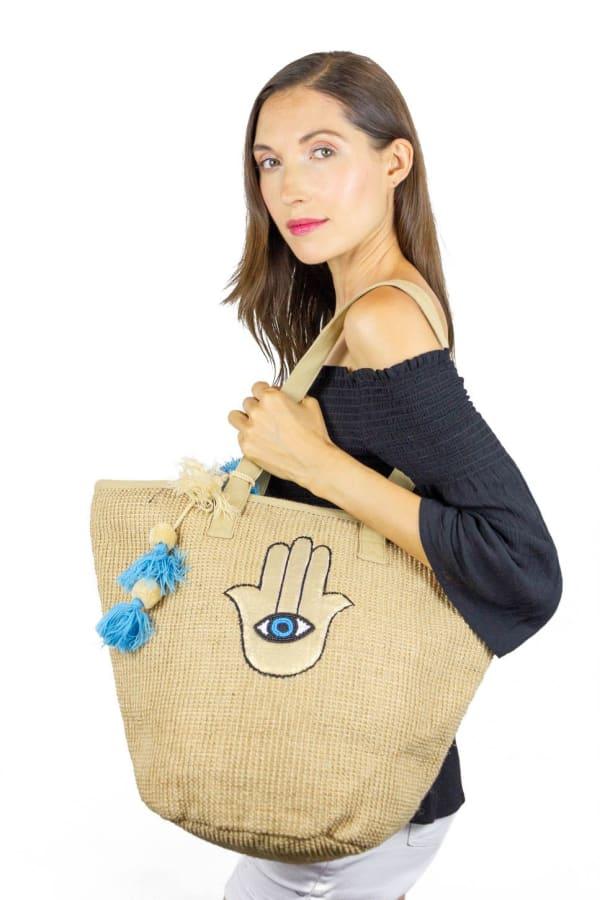 Jute Straw Evil Eye Hamsa Hand Tassel Tote - Natural - Front