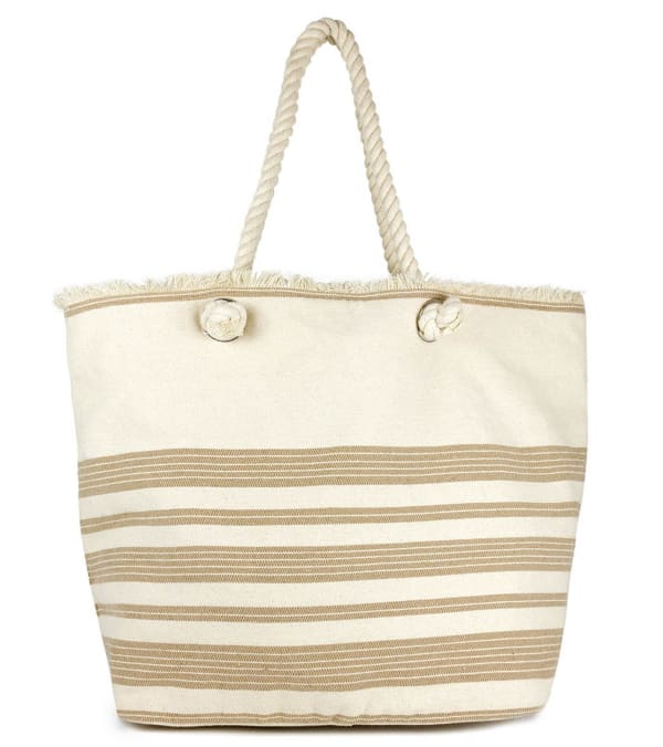 Oversized Striped Cotton Rope Handle Tote - Natural - Front