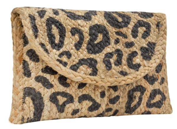 Straw Leopard Print Clutch