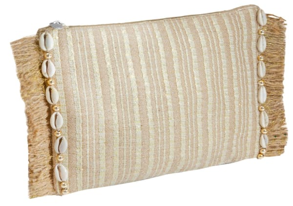 Straw Clutch Striped Clutch With Seashells - Toast - Front