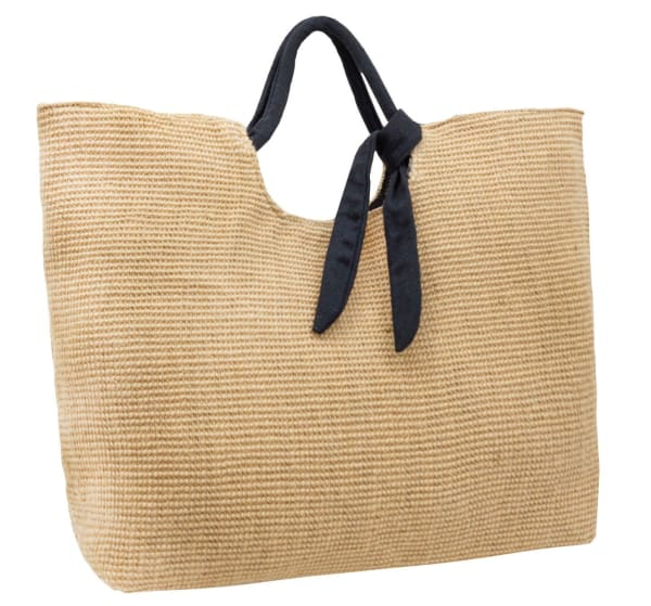 Straw Cotton Bow Beach Tote