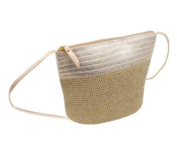 Metallic Color Block Crossbody Bag - Gold - Front