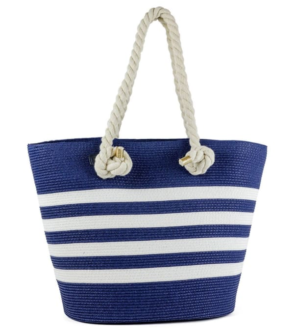 Striped Rope Handle Beach Tote