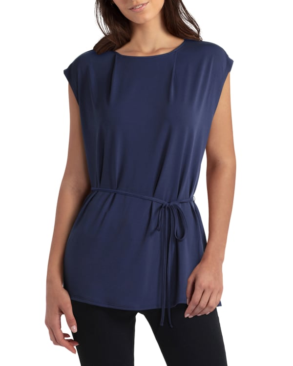 H Halston Extended Shoulder Waist Tie Pullover - Classic Navy - Front