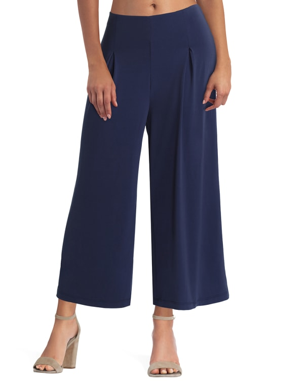 H Halston Cropped Wide Leg Pant - Classic Navy - Front