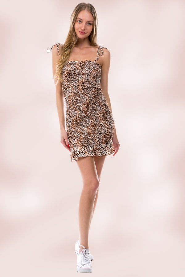 Animal Leopard All Over Smocking Tube Dress - Rust / Black - Front