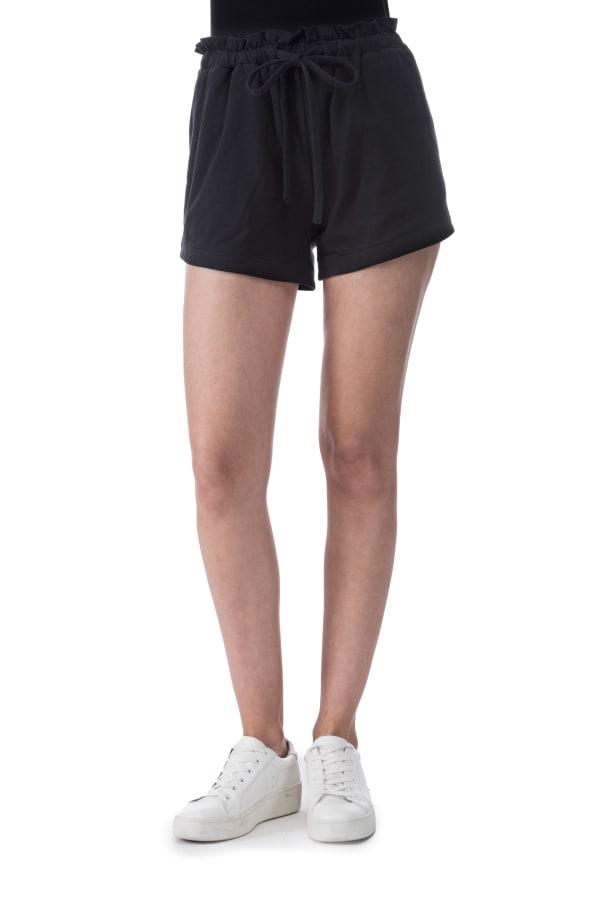 Donna French Terry Side Slit Pocket Short - Black - Front