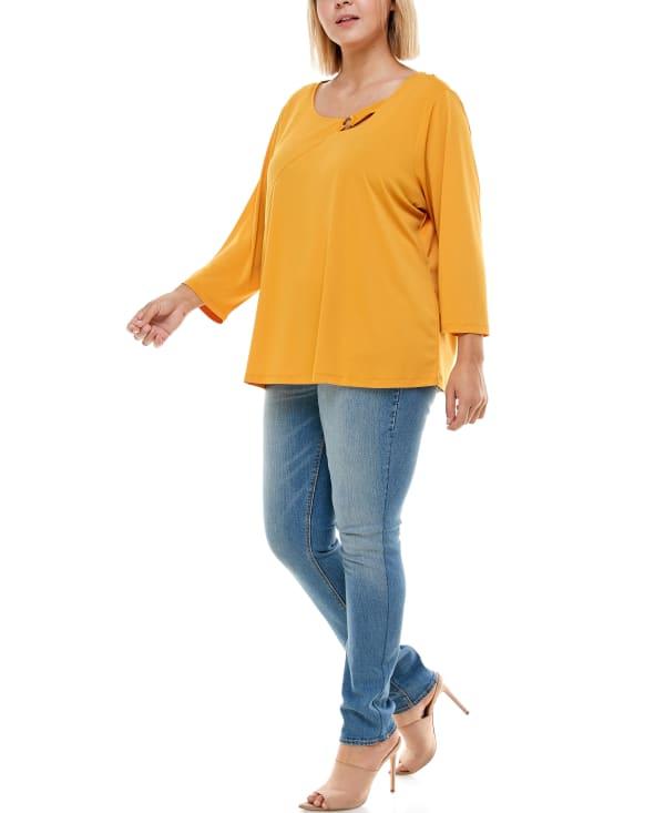 Adrienne Vittadini - Asymetric 3/4 Sleeve Top - Plus