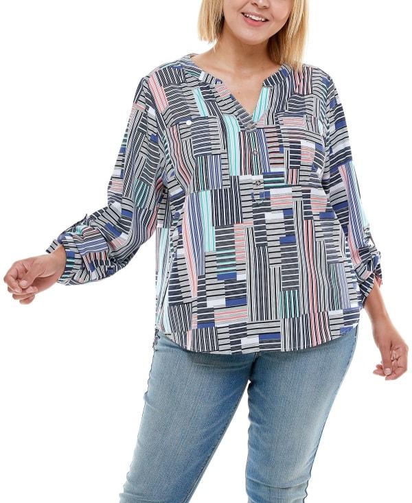 Mandarin Collar 3/4 Sleeve Utility Shirt - Plus - Tiffany Block Stripe - Front