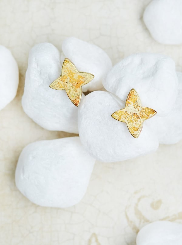 14K Gold Plated Star Stud Earrings - Gold - Front