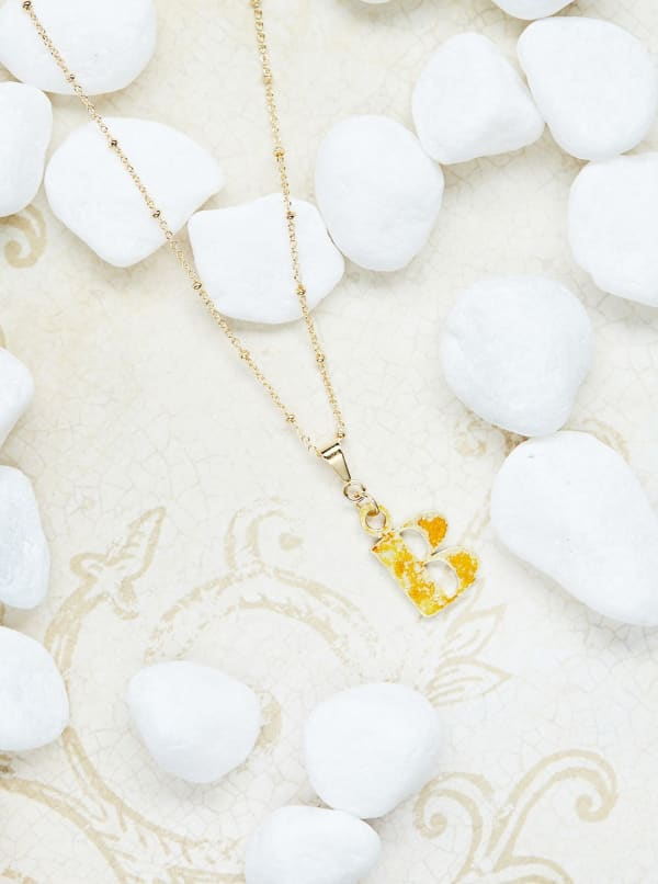 14K Gold Plated B Charm Necklace