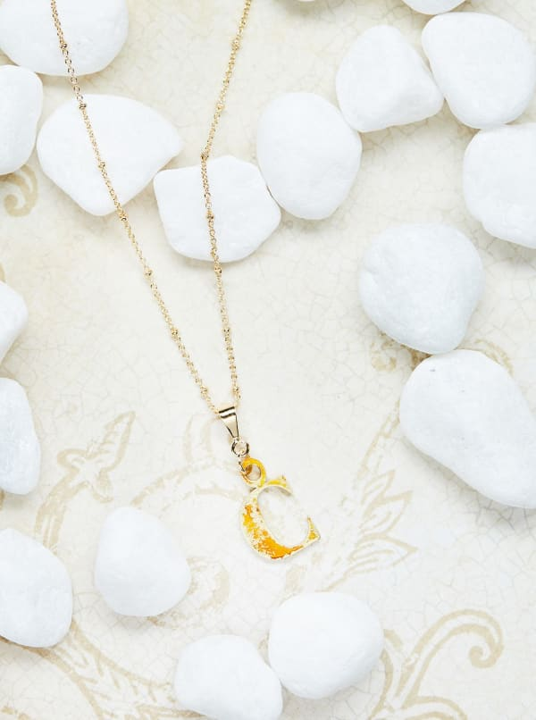 14K Gold Plated C Charm Necklace
