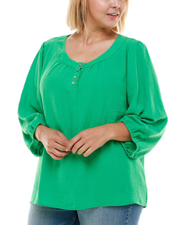 Henley 3/4 Sleeve Blouse - Plus - Bright Green - Front