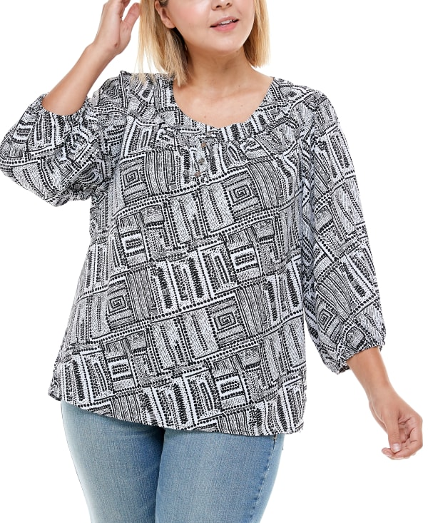 Henley 3/4 Sleeve Blouse - Plus - Dot Spiral - Front
