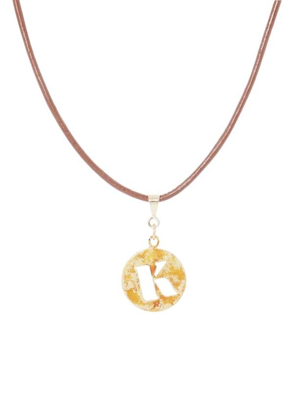 14K Gold Plated K Choker Charm Necklace