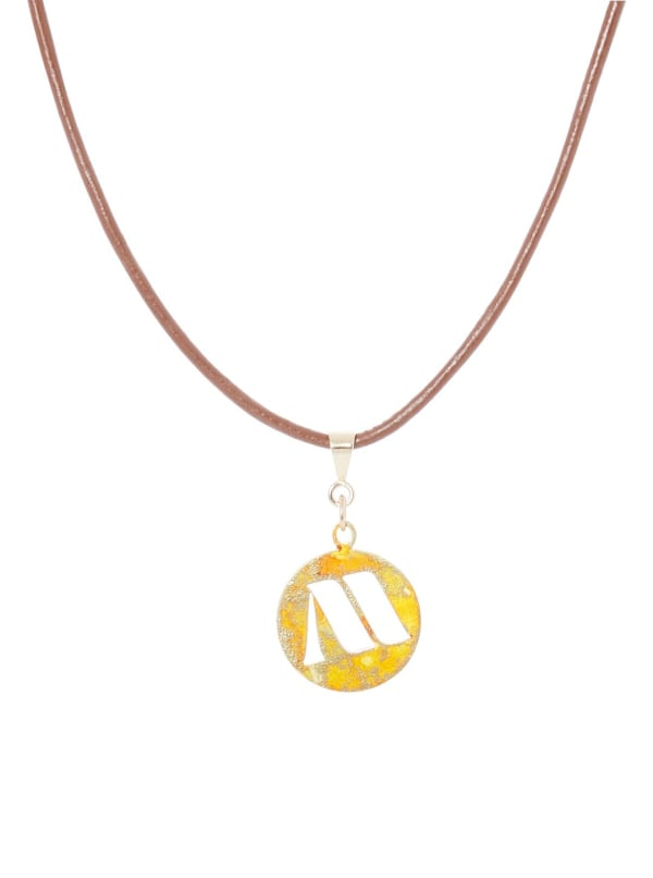 14K Gold Plated M Choker Charm Necklace - Gold - Front