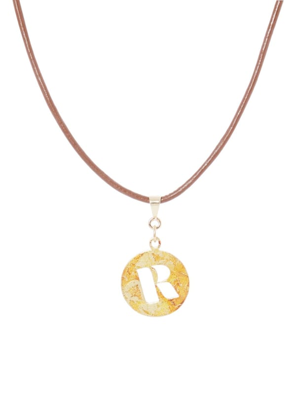 14K Gold Plated R Choker Charm Necklace - Gold - Front