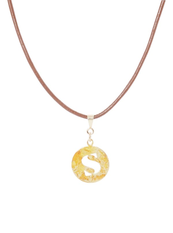 14K Gold Plated S Choker Charm Necklace - Gold - Front