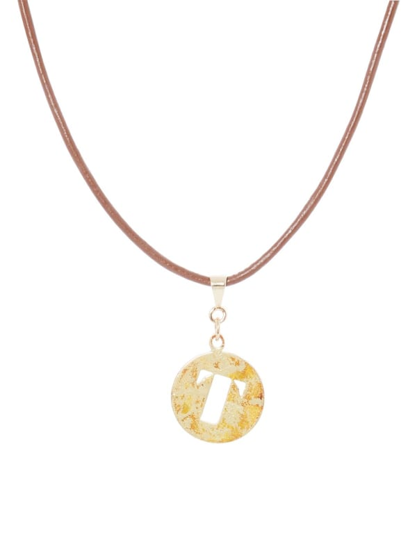 14K Gold Plated T Choker Charm Necklace